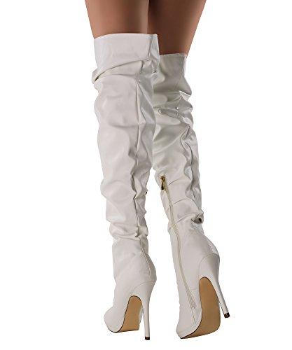 RF RAUM DER MODE Frauen Slouchy Peep Toe Stiletto mit Absatz vegane Overknee-Stiefel Weißer Pu