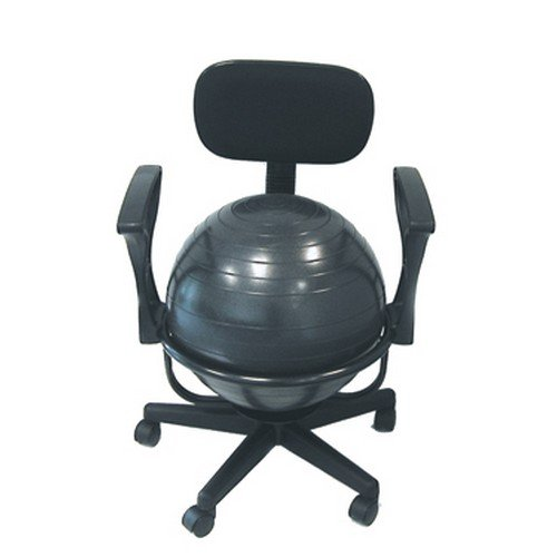 Cando Mobile Exercise Ball Chair with Back - Metal (Without Arms)
