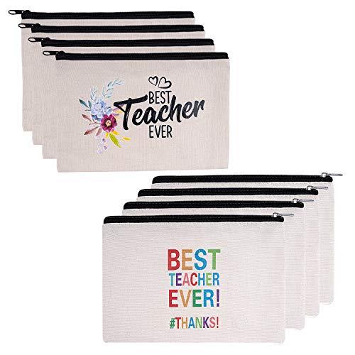 Teacher Gifts, 8 Pieces Makeup Pouch Cosmetic Bag Travel Toiletry Case Pencil Bag with Zipper for Teacher Appreciation Gift, Best Teacher Ever (Best Teacher Bag Ever)