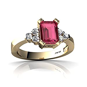 Emerald Cut Diamond Ring with 14kt Gold Pink Tourmaline and Diamond 7x5mm