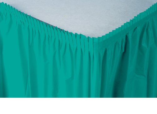 Creative Converting Plastic Table Skirt, 14-Feet, Tropical Teal