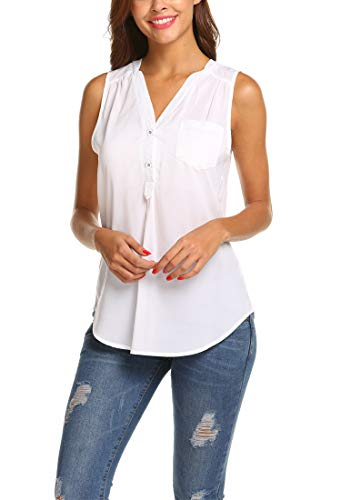 Hount Women's Notch V Neck Sleeveless Pockets Chiffon Blouse Tank Top (White, S)