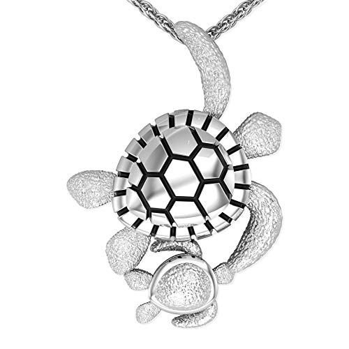 Belinda Jewelz Womens Girls Turtle Sea Life Ocean Real Solid 925 Rhodium Plated Vintage Fine Fashion Jewelry Accessory Hanging Pendant Necklace, Sterling Silver, 18 Inch