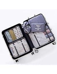 Bolsas de Viaje 6 En 1, IFORU Organizador de Equipaje Viaje (3 Bolsa de Malla + Lavandería Bolsa + Toiletry Bolsa + Bolsa de Zapato)Travel Organizer 6 Cube Organizer Ideal para Organizar Maletas de Mano(Gris, Grande)