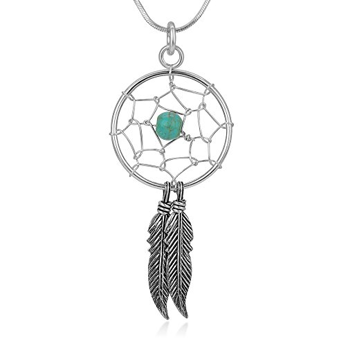 "Sterling Silver Blue Turquoise Stone Dreamcatcher Dangling Feather Pendant Necklace 16""-18"""
