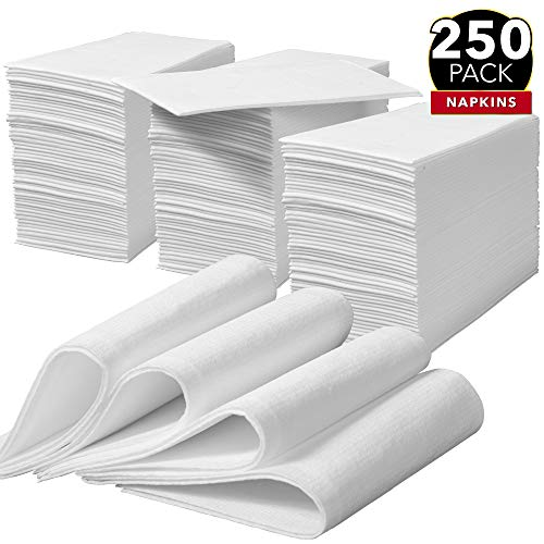 250 Linen Feel Dinner Napkins - White | Disposable Guest Towels | Wedding Napkins | Paper Napkins | Disposable Hand Towels for Bathroom, Parties, Weddings, Dinners Or Events
