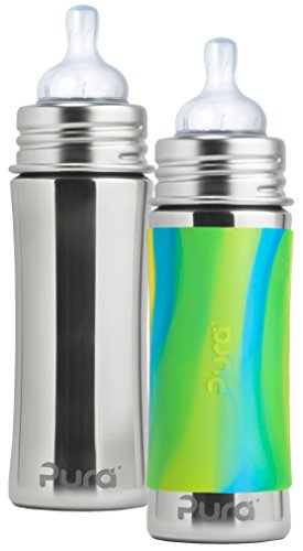 pura-kiki-stainless-steel-infant-bottle-11-ounce-set-of-2-aqua-swirl-and-natural-mirrored