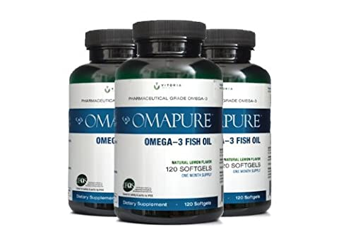 OMAPURE Pharmaceutical Grade Omega-3 Fish Oil (3 Bottles; 120 softgels) | Made with IFOS 5-Star Certified Fish Oil - Tested for Purity, Potency, Radiation, and - Health Star