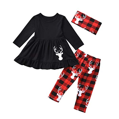 Christmas Toddler Girl Outfits, Ruffle T-Shirt Dress Baby Clothes, Plaid Pants + Christmas Deer Jacquard Knit Scarf 3pcs Sets Black