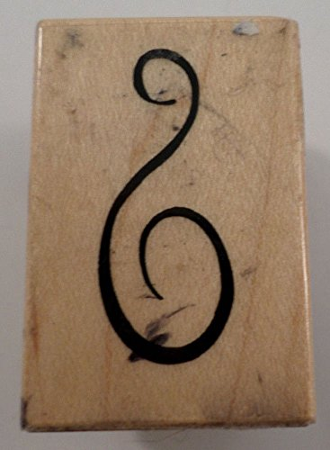 Psx 1999 B-2983 Whimsical G-Clef Swirl Design Wooden Rubber Stamp ()