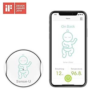 Sense-U Baby Monitor Breathing Movement Rollover Temperature Detector Sensors: Alert you for No Breathing Movement, Stomach Sleeping, Overheating and Getting Cold with Audible Alarm from your Smartphone