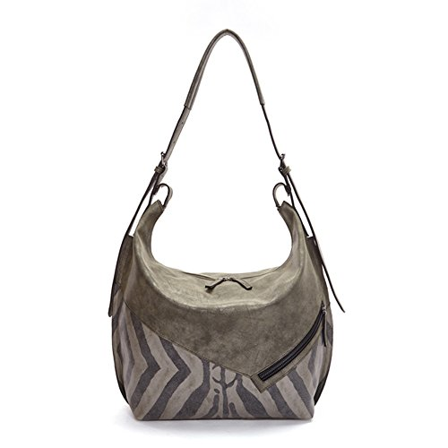 'Ilona' Designer Distressed Olive Hobo Handbag