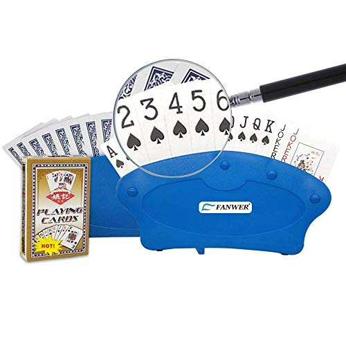 2Pcs Hands Playing Card Holders with 1Pc Bold Font Poker for Seniors,Disabled,Elderly ()