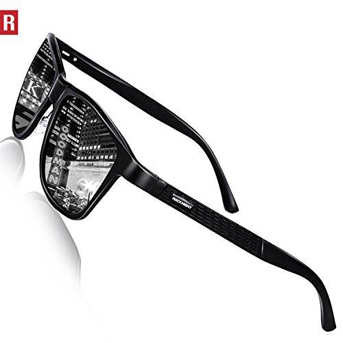 Rocknight Driving Polarized Wayfarer Sunglasses for Men Women Metal full Frame Sunglasses Silver Mirrored Sunglasses UV Protection - Shop Sungalsses