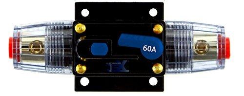 Jex Electronics 60 Amp In-Line Circuit Breaker Stereo/Audio/Car/RV 60A/60AMP Fuse 12V/24V/32V