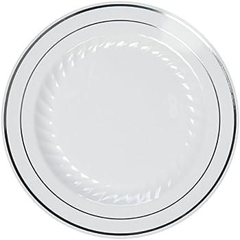 Amazon.com   Fineline Settings Silver Splendor White With Silver ...