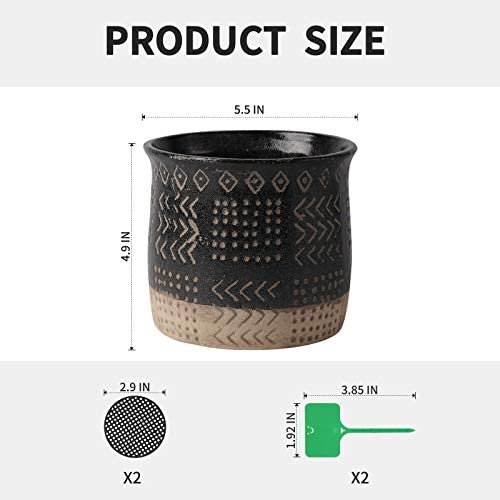 TAMAYKIM 5.5 Inch Ceramic Black Plant Pots with Drainage Holes, Retro Totem Design Porous Pots for Indoor Outdoor Flower Planters, Snake Plant, Succulent, Cactus & Herbs, Set of 2 (Plant Not Included)