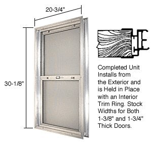 C.R. LAURENCE BAP264 CRL Satin Anodized 20-3/4'' x 30-1/8'' Bel-Air ''Plaza'' Combination Door Unit With Clear Tempered Glass and Mill Frame for 1-3/4'' 2-6 Slab Door by C.R. Laurence (Image #1)