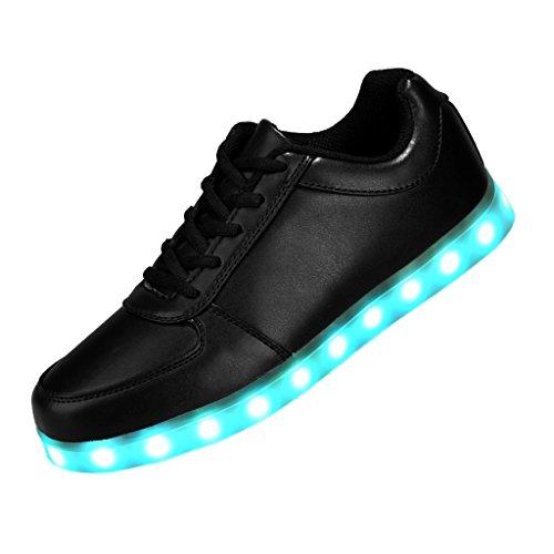 LED Sportschuhe iLory Schuhe Aufladen USB Sneaker 7 Farbe für Damen Sport Jungen Mädchen Leuchtend Herren Unisex Turnschuhe Schwarz Farbwechsel Wnz7xvw7r