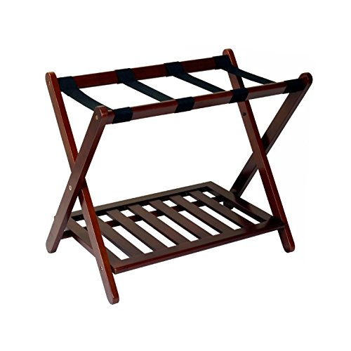 Luggage Rack For Suitcases Solid Wood in Walnut - Hotel Style Home Storage Shelf Best For Bedroom, Guest Room Folding Bundle w Floor Protector Pads (Finish Rack Luggage Walnut)