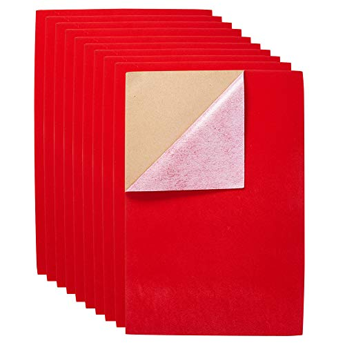 BENECREAT 20PCS Velvet (Red) Fabric Sticky Back Adhesive Back Sheets, A4 Sheet (8.3