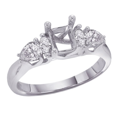14K White Gold 5/8 ct. Marquise and Pear Cut Diamond Semi Mount Engagement Ring Marquise Diamond Semi Mount Ring