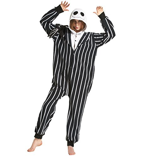 Tri-Better Jack Skellington Onesie Anime Pajamas Hooded Kigurumi Unisex Cosplay Costumes (XL)
