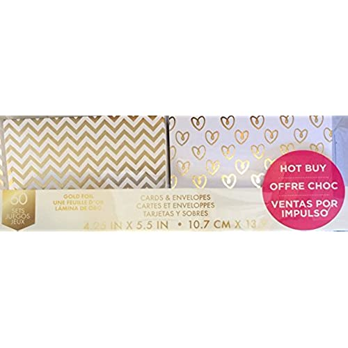Craft Smith GOLD GIFT Cards & Envelopes Set of 60 All Ocassion Textured Greeting Cards Sales