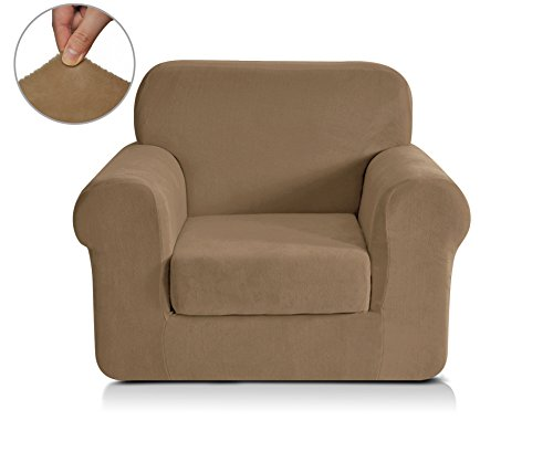 Chunyi 2-Piece Coral Fleece Spandex Fabric Polyester Sofa Slipcovers (Chair, Coffee) (Fabric Room Living Bed)