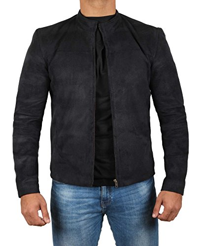 Men Suede Jackets (Tom Cruise Suede Jacket Men - Mission Impossible Fallout Black Leather Jacket, XL)