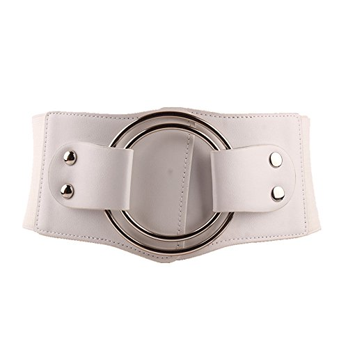 Zhouting Women's Leather Belt Womens Belt Elastic Cinch Waistband Ornament Lady (Color : White)