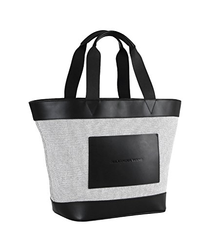 Mod 20t0048 White Canvas Black Wang Rhodium Tote Donna Alexander With And tqpvWzca7w
