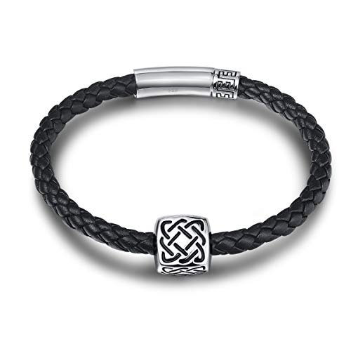 FANCIME Celtic Knot 925 Sterling Silver Genuine Mens Leather Bracelet Braided Rope Energy Charm Push Button Locking Clasp, 9