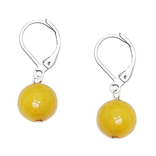 Falari 10mm Round Natural Stone Earring High Polished Rhodium Leverback Yellow Agate (Yellow Lapis Earrings)