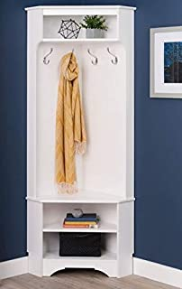 Hall Trees with Bench and Coat Racks - Corner Tree White Wood with Four Hooks and