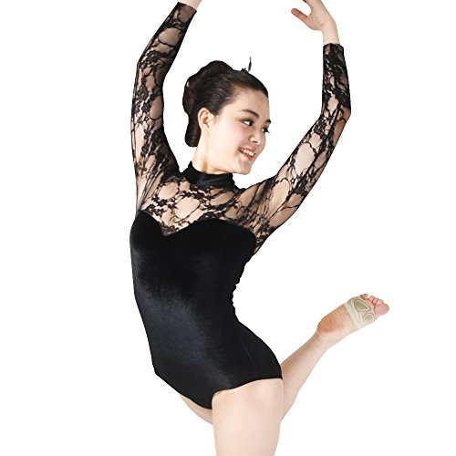 MiDee Dance Leotard Gymnastics Costume Lace Velvet Long Sleeves (LC, Black)