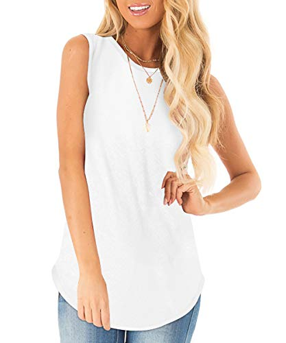 Sousuoty Loose Fit Summer Womens Tank Tops Sleeveless Shirts Solid White XL