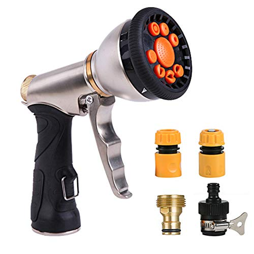 NOMACY Garden Hose Nozzle, Water Hose Spray Nozzle, High Pressure Heavy Duty Sprayer with 9 Watering Patterns, Best for Garden Outdoor Watering Plants Lawns, Car Washing, Pets Showering