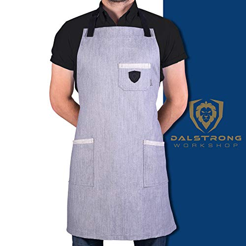 Dalstrong Professional Chefs Kitchen Apron - 100% Cotton Denim - 4 Storage Pockets - Liquid Repellent Coating - Genuine Leather Accents - Adjustable Straps (The Gandalf - 100% Cotton Grey Denim)