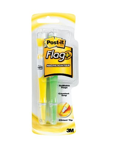 Post-it Flag+ Highlighter, Yellow and Green or Yellow and Orange, 50-Color Coordinated Flags/Highlighter, 2-Pack