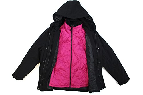 GERRY 3 IN 1 SYSTEMS WOMEN'S JACKET WITH DETACHABLE HOOD (X-Large, Black/Pink)