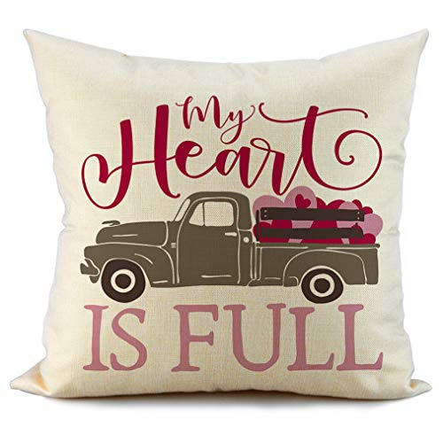 FIBEROMANCE Valentines Truck Pillow Covers My Heart is Full Decorative Pillowcase Cushion Cases Pillow Case for Sofa Couch Bedroom Car Spring Home Decor Cotton Square Pillowcase 18 x 18 Inch F101