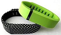 Small 1 Lime Green 1 Black with White Dots Spots Band for Fitbit FLEX Only With Clasps Replacement /No tracker/