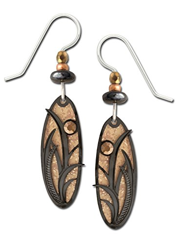 Adajio Earrings Sandstone Brown Oval Reeds Filigree Overlay Cabochon Handmade Gift Box Made in USA