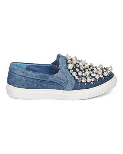 Alrisco Women Bedazzled Slip on Sneaker - Pearls and Rhinestones Sneaker - Trendy Fancy Luxurious Fashion Slip ONS - HD84 by Vigo Fiore Collection Washed Denim 7VWeKV6b