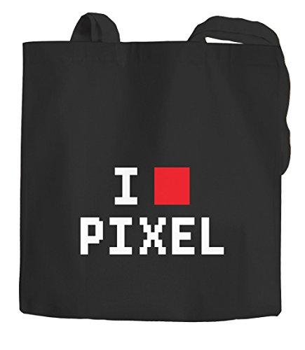 I Love Pixeles funda de algodón bolsa de tela bolsa de tela bolsa Moon Works® talla única Negro Negro