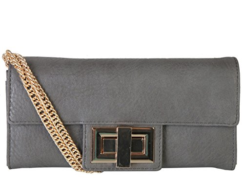Rimen & Co. Soft PU Leather Womens Purse Wallet Accented with Removable (Metal Lock Wallet)