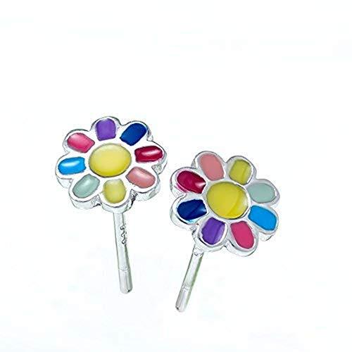 Solid 925 Stering Silver enamel Cute Daisy flower Stud Earrings For Girls Teens women - Rainbow daisy