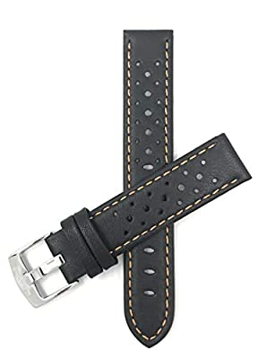 Vented Racer Genuine Leather Watch Strap Band, with Stainless Steel Buckle, 18-24mm, Comes in Many Colors from Bandini