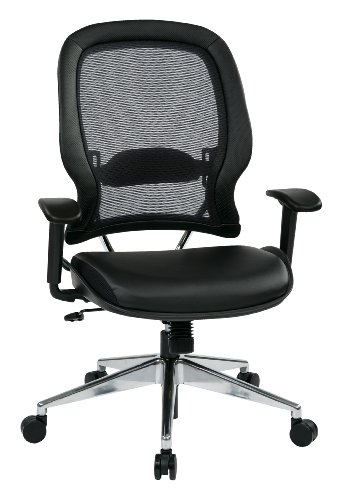SPACE Seating Professional AirGrid Back and Eco Leather Seat and Trim, 2-to-1 Synchro Tilt Control, Adjustable Arms and Lumbar, Polished Aluminum Base Managers Chair, Black by Space Seating